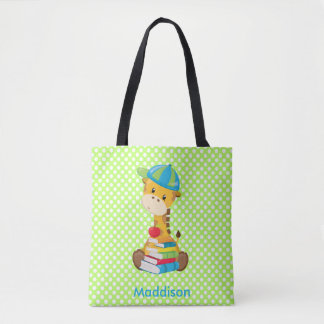 Baby Giraffe & Books | Personalized Tote Bag