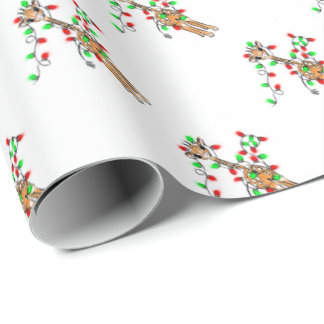 Baby Giraffe - Christmas lights-merry and bright Wrapping Paper