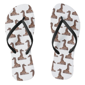 Baby Giraffe Frenzy Flip Flops (choose colour)
