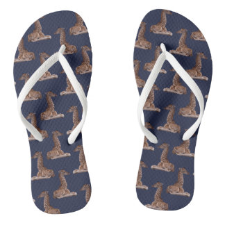 Baby Giraffe Frenzy Flip Flops (Navy)