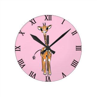 Baby Giraffe - pink Round Clock