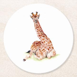 Baby Giraffe Round Paper Coaster