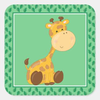 Baby Giraffe | Safari Animals Party Square Sticker