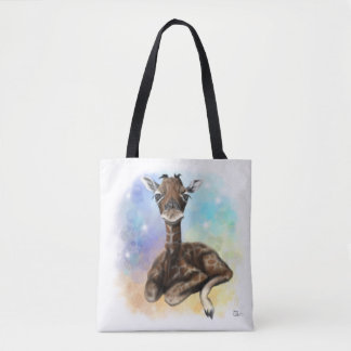 Baby Giraffe Sitting Tote Bag