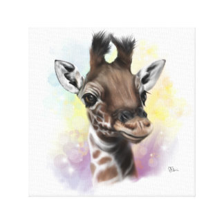 Baby Giraffe Smiling Canvas