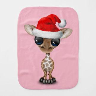 Baby Giraffe Wearing a Santa Hat Burp Cloth