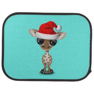 Baby Giraffe Wearing a Santa Hat Car Mat