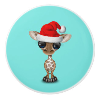 Baby Giraffe Wearing a Santa Hat Ceramic Knob