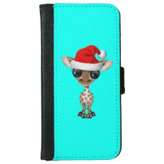 Baby Giraffe Wearing a Santa Hat iPhone 6 Wallet Case