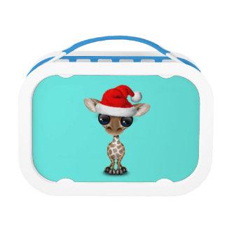 Baby Giraffe Wearing a Santa Hat Lunch Box