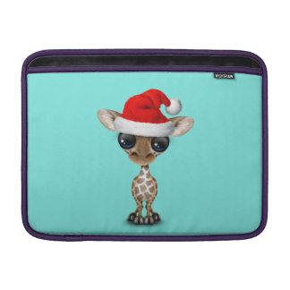 Baby Giraffe Wearing a Santa Hat MacBook Sleeve