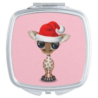 Baby Giraffe Wearing a Santa Hat Makeup Mirror