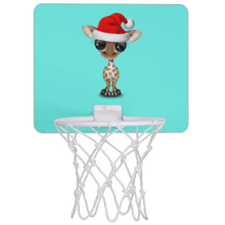 Baby Giraffe Wearing a Santa Hat Mini Basketball Hoop
