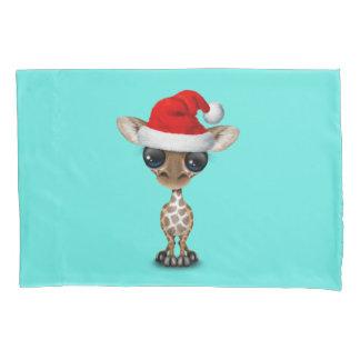 Baby Giraffe Wearing a Santa Hat Pillowcase