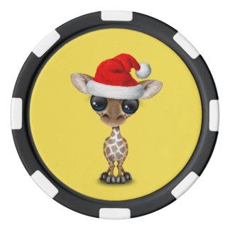 Baby Giraffe Wearing a Santa Hat Poker Chips