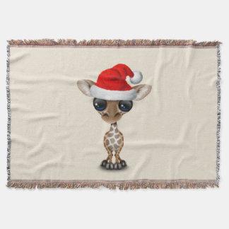 Baby Giraffe Wearing a Santa Hat Throw Blanket