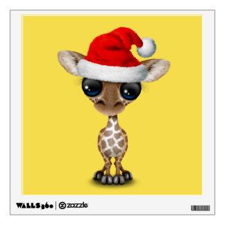 Baby Giraffe Wearing a Santa Hat Wall Sticker
