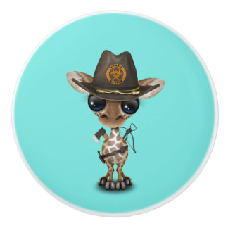 Baby Giraffe Zombie Hunter Ceramic Knob