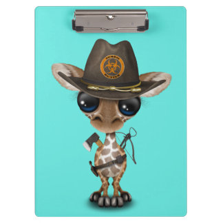 Baby Giraffe Zombie Hunter Clipboards