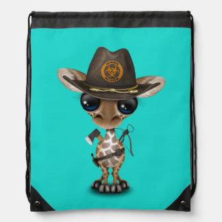 Baby Giraffe Zombie Hunter Drawstring Bag