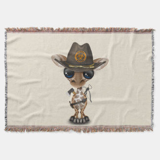 Baby Giraffe Zombie Hunter Throw Blanket