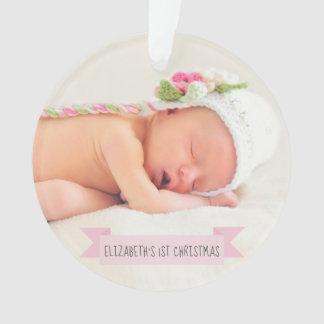 Baby Girl 1st Christmas Photo Holiday Elegant Ornament