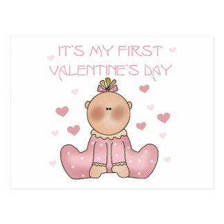 Baby Girl 1st Valentine's Day Postcard