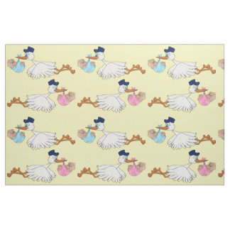 Baby Girl and Boy Stork Design Pattern Fabric
