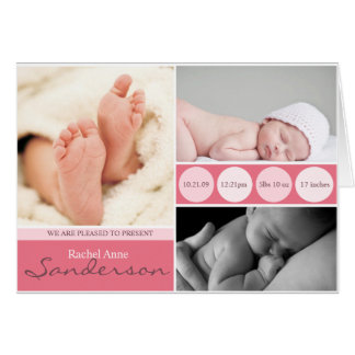 Baby Girl Announcement Cards