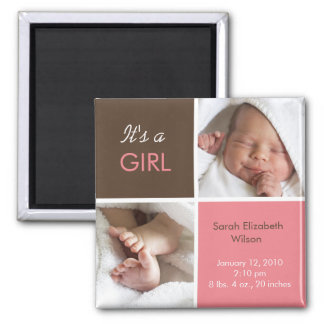 Baby Girl Announcement magnet