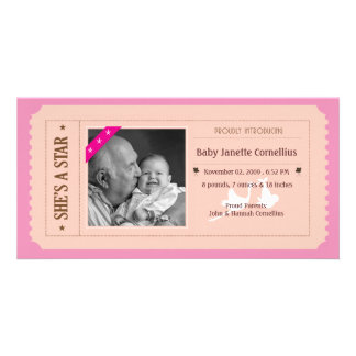 Baby Girl Announcement - Movie Ticket Style Photo Card Template