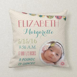 Baby Girl Announcement Photo Throw Pillow