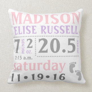Baby Girl Announcement Pillow, pink, purple, grey Throw Pillow