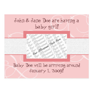Baby Girl Announcement Postcard