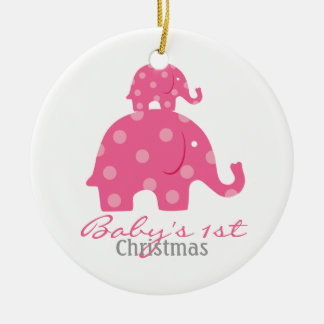 Baby girl baby's first christmas - elephants ceramic ornament