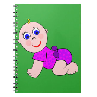 Baby Girl Bald Spiral Note Book