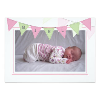 "Baby Girl Banner Flags Birth Photo Announcement 5"" X 7"" Invitation Card"