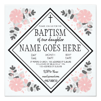 Baby Girl Baptism / Christening Invitation