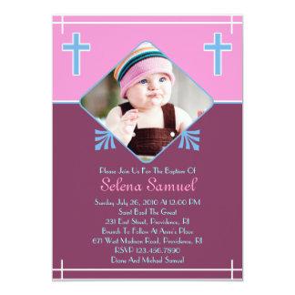 Baby Girl Baptism Photo Flat Invitation