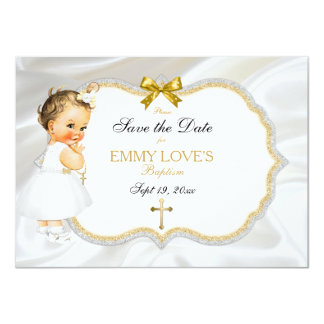 Baby Girl Baptism Save Date White Gold Cross Card