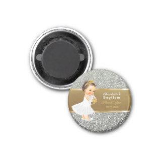Baby Girl Baptism Thank You Keepsake   Gold Silver Magnet
