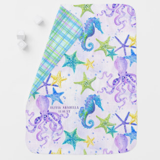 Baby GIRL Beach Sea Octopus Seahorse Nursery Art Baby Blanket