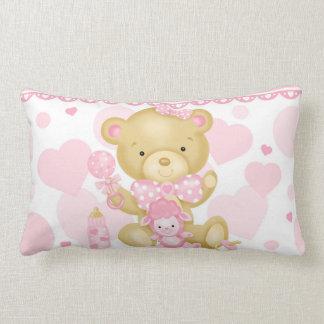 Baby Girl Bear Lumbar Pillow