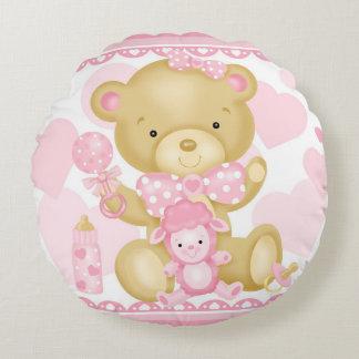 Baby Girl Bear Round Pillow