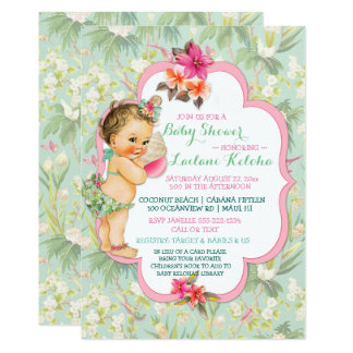 Baby Girl Bikini Tropical Luau Hawaiian Shell Card
