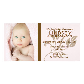Baby Girl Birth Announcement Card