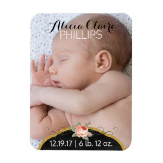 Baby Girl Birth Announcement Photo | Modern Script Magnet