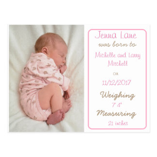 Baby Girl Birth Announcement Postcard