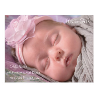 Baby Girl Birth Announcement Postcard