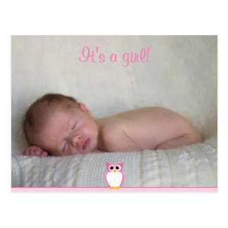 Baby Girl Birth Announcement Postcard with Owl